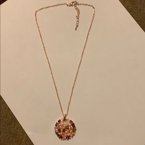 Rose gold multi-color crystal pendant w/ necklace